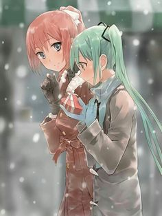 "Tags:     ""blue eyes"" ""blush"" ""gloves"" ""green eyes"" ""green hair"" ""heart"" ""jacket"" ""long hair"" ""pink hair"" ""ponytail"" ""ribbon"" ""scarf"" ""shy"" ""smile"" ""snow"" ""twin tails"" ""valentine"" ""winter""  Source:     ""Vocaloid""  Characters:     ""Hatsune Miku"" ""Megurine Luka""  Artist:     ""Bob"""