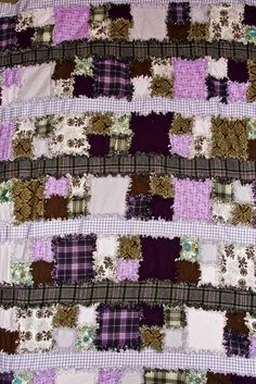 The very first Rag Quilt I ever made. I edited the pattern to include the alternating strips in between.