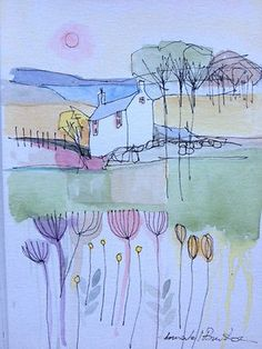 Original Water Colour and ink Painting 'House with Trees'. Signed.