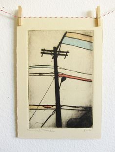 Hi! This is a hand pulled dry point etching of power lines. I used a copper plate and etched the image into it by hand. I then inked the plate,