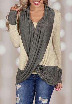 Stylish V-Neck Long Sleeve Color Block Draped Women's Blouse