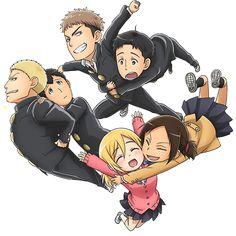 JeanMarco/ReiBert/YumiHisu Trinity from Attack on Titan: Junior High <<< MY SHIPS !!!