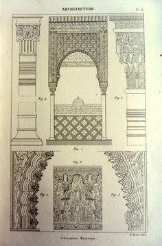 1852 architecture arabe ancienne impression, antique vintage ornement dessins gravure, ornements dart originales plaque-modèle décorations.