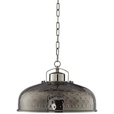 A hand-hammered look and traditional design allow this industrial metal pendant light to illuminate your home with modern flavor.