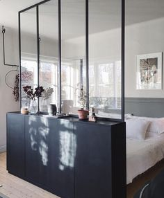 IKEA Ivar cabinets with a glass wall above create a hidden sleeping area in . - IKEA Ivar cabinets with a glass wall above create a hidden sleeping area in a studio … - Ikea Interior, Apartment Interior, Interior Design, One Room Apartment, Studio Interior, Luxury Interior, Apartment Living, Interior Ideas, Modern Interior