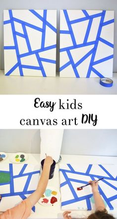Kids Canvas Art DIY - all crafty things Einfache Kinder Leinwandbilder DIY Kids Canvas Art, Canvas Crafts, Diy Canvas, Kids Paint Crafts, Canvas Paintings For Kids, Homemade Canvas Art, Abstract Art For Kids, Canvas Art Projects, Acrylic Canvas