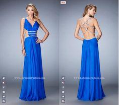 La Femme Prom - 22762 long prom dress - blue prom dress - homecoming dress - formal dress - open back - V neckline - open sides - crystal straps
