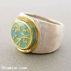 Shamza.com: Sterling silver ring with gold and blue ornament, $52.00