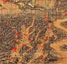 【五殿閻羅王】局部6 元 陸仲淵 絹本著色金泥掛軸。 縱85.9 cm橫50.8 cm 14世紀 奈良國立博物館藏。