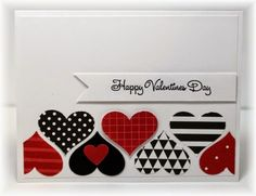 handmade Valentine card from Scrappin' and Stampin' in GJ .. black and white with red ... band of punched hearts from patterned papers ... Stampin' Up!