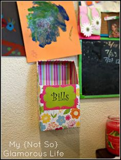 Upcycled Bill/Mail Holder via My {Not So} Glamorous Life