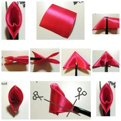 Fabric ribbon flowers