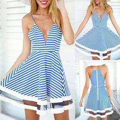 d04d14d35fb Women Mesh Patchwork Stripes Plested Dresses