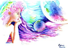 Painting Of Girl, Watercolors, Greeting Cards, Wall Art, Water Colors, Watercolor Paintings, Watercolor, Watercolour Paintings, Wall Decor