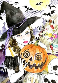 イラストレーター土屋みよのHP。 Art And Illustration, Portrait Illustration, Oriental, Halloween Art, Fashion Sketches, Female Art, Illustrators, Art Drawings, Artsy