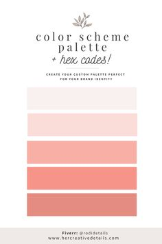 Hey, can I help you to find your perfect pink color palette colour schemes for your brand identity? If you are also starting a website, blog or business or if you want to have a restyling, then you are in the right place. I can help you to find your pastel color palette (or more, any niche!) for your brand identity and website. Choose your color palette branding and color palette for website brand board. Contact me on fiverr for your palette: @rodidetails. Website Color Palette, Pastel Colour Palette, Pastel Colors, Pink Color, Brand Style Guide, Perfect Pink, Brand Board, Colour Schemes, Fashion Branding