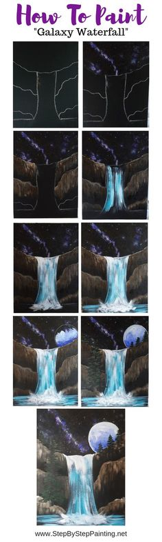 How To Paint Galaxy Falls - Step By Step Painting. How To Paint Galaxy Falls - Step By Step Painting Get more photo about subject related with by lo. Canvas Painting Tutorials, Easy Canvas Painting, Acrylic Painting Lessons, Galaxy Painting, Painting Art, Canvas Paintings, Acrylic Canvas, Canvas Art, Pour Painting