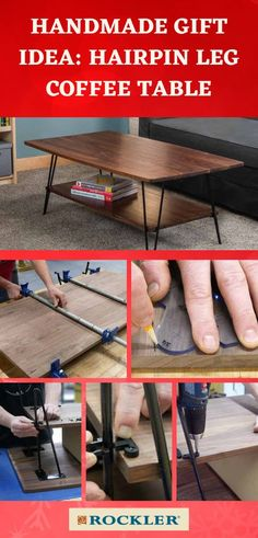 Building a midcentury modern coffee table with an artfully curved top is easy with Rockler's I-Semble Hairpin Legs and Hairpin Leg Shelf Brackets! Just a few simple glue-ups and cuts, and you'll have a display-worthy piece you made yourself. Build one as a gift this holiday season with the free plan from Rockler.  #createwithconfidence #handmadegift #coffeetable #hairpinleg #isemble #diytable Hairpin Leg Coffee Table, Hairpin Legs, Cool Woodworking Projects, Diy Woodworking, Shelf Brackets, Modern Coffee Tables, Diy Table, Midcentury Modern, Crafts To Sell