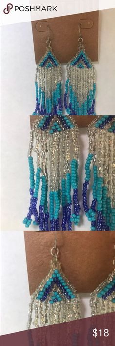Robert Rose EARRINGS Beads Tassel Drop Earrings Robert Rose EARRINGS Blue Design Seed Beads Tassel Drop Earrings Beaded NEW Robert Rose Jewelry Earrings