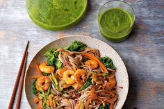 Prawn stir-fry with buckwheat noodles. Photographed by Romas Foord