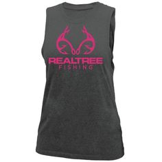 This Women's Fishing Tie-Back Tank is the perfect way to show your Realtree Style in Fashion. It is Black or Gray, lightweight, slight fitted tank made with a poly/rayon blend for softness. Country Outfits, Country Girls, Sleeveless Tunic Tops, Camo Outfits, Fishing Girls, Tie Backs, Outfits For Teens, Athletic Tank Tops, My Style