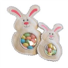 Bunny Candy Cuties In the Hoop - Bunny Candy Cuties are perfect for Easter Basket stuffers! This in the hoop embroidery design is made with felt and vinyl so the treats show through the bunny's belly for a fun Easter toy.