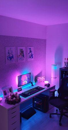 Neon Bedroom, Bedroom Setup, Room Design Bedroom, Room Ideas Bedroom, Gray Bedroom, Computer Gaming Room, Gaming Room Setup, Gaming Rooms, Best Gaming Setup
