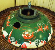 Vintage Metal Christmas Tree Holder Stand with Great Old Santa Reindeer Graphics | eBay