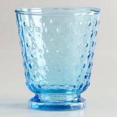 One of my favorite discoveries at WorldMarket.com: Aqua Hobnail DOF Glasses, Set of 4