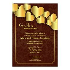 golden 50 wedding anniversary invitations with golden hearts and red floral background