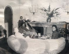 """Family in a living room designed by Jean Royère, black and white picture, about Jean Royère: Property from a Private Collection, 25 November 2014 Sale, Sotheby's Paris. The """"Polar Bear"""" couch was sold Living Room Designs, Living Rooms, Vine Wall, Types Of Furniture, Black And White Pictures, Polar Bear, Modern Art, 25 November, Designer"""
