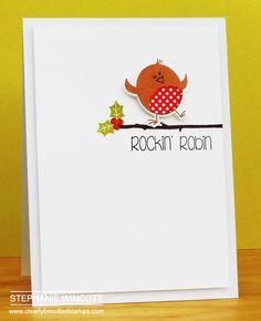 ) Stamps - Rockin' Robin , Rockin' Robin II , Cheerful Calligraphy & Christmas Type / D. Homemade Christmas Cards, Christmas Cards To Make, Christmas Makes, Christmas Elf, All Things Christmas, Christmas Ideas, Rockin Robin, Button Cards, Mini Books