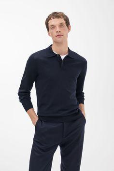 Merino Polo Jumper Work Casual, Men Casual, Polo Jumper, Intelligent Agent, Rib Knit, Merino Wool, Knitwear, Long Sleeve, Mens Tops
