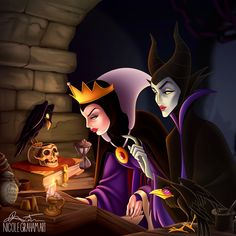 I think they just found the perfect spell for both there problems. The Evil Queen with the mistress of all evil Maleficent! Disney Pixar, Walt Disney, Disney Magic, Disney Evil Queen, Disney Memes, Disney Fan Art, Disney Villains, Disney Animation, Disney And Dreamworks