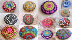 "Mix 5 Pcs Lot Decorative Uzbek Round Suzani Embroidered Cushion Cover Pillow 16""…"