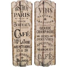 Charming French Chic Wooden Wall Art Bistro Decor Kitchen
