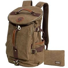 KAUKKO Casual Mens Large Backpack Vintage Canvas Backpacks Rucksacks for Travel  Hiking Outdoors Khaki2PCS * You can get additional details at the image link. Note:It is Affiliate Link to Amazon.