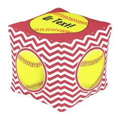 Maroon Red & White Fastpitch Softball Square Pouf #softball #faspitch #softballdecor