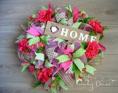 Summer Wreath, Floral Wreath, türkranz sommer by TrendyDecorShop on Etsy