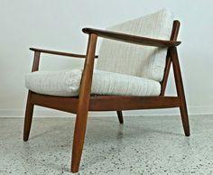 mid century Danish modern cane back DUX lounge chair tweed upholstery #MidCenturyModern #DUX