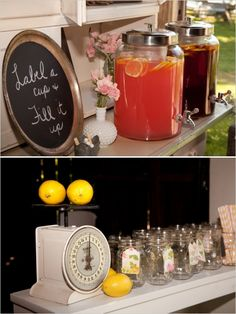 drink station ideas for your backyard wedding--might be a good idea if it's pretty warm out