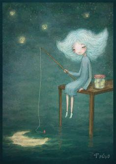 dibujo #ilustracion infantil - Fishing for the moon? Great whimsical art!