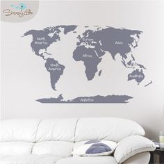 Take yourself on a world tour with the World Map decal! Pin places you've been, or plan where you'll be traveling next. This large map is fantastic for studies, bedrooms, or just about anywhere!