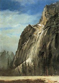 Albert Bierstadt - [German-born AmericanHudson River SchoolPainter, 1830-1902] - Cathedral Rocks, A Yosemite View,circa 1872