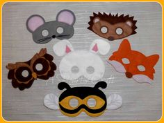 Felt Woodland Animal Mask Set - Owl Bee Rabbit Fox Hedgehog Mouse for Fancy Dress Up Pretend Play - Halloween Mask Party Mask School Play by AHeartlyCraft on Etsy
