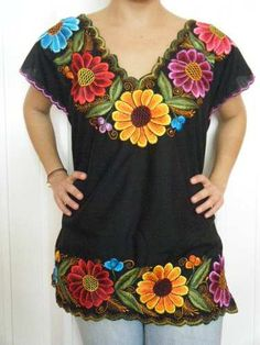 Traditional Mexican Shirt with Apliques Mexican Embroidered Dress, Mexican Blouse, Mexican Embroidery, Mexican Outfit, Mexican Dresses, Shirt Embroidery, Mexican Style, Embroidered Blouse, Traditional Mexican Shirts