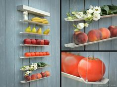 Your fruits and veggies no longer have to be buried in a bowl, only to get bruised and moldy. Now you can store them neatly on this minimal wall shelf that lets your produce double as art. Great idea via Design Milk
