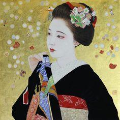 Maiko. Her name is Mamefuji. by Msako Kurokawa. まめ藤ちゃん : 黒川雅子のデッサン
