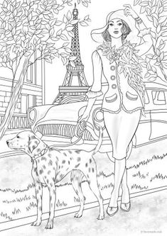 Lady with a Dog - Printable Adult Coloring Page from Favoreads (Coloring book pages for adults and kids, Coloring sheets, Colouring designs) Flower Coloring Pages, Coloring Book Pages, Coloring Sheets, Mandala Coloring, Colouring Pages For Adults, Vintage Coloring Books, Printable Adult Coloring Pages, Free Coloring, Kids Coloring
