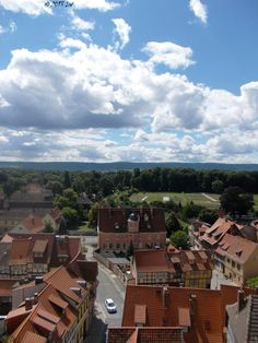 View of Quedlinburg from the top of the castle. The Castle is also part of the UNESCO Heritage List. It was founded by Henry the Fowler and built up by Otto the Great in 936. The castle was used during the WWII as part of the propaganda.